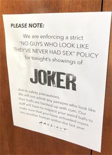"""Пранкеры поиздевались над ограничениями на сеансах """"Джокера"""""""